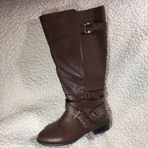 Torrid tall brown strappy buckle boot Sz 10W